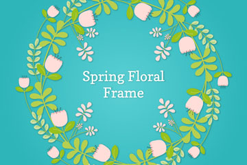 创意质感春季花环矢量素材