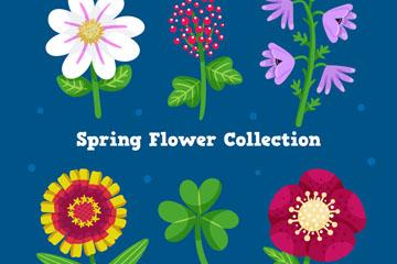 6款卡通春季花卉矢量素材