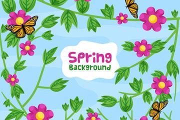 春季花枝和蝴蝶无缝背景矢量图