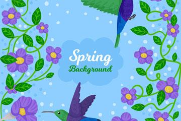 春季紫色花卉和蜂鸟矢量素材