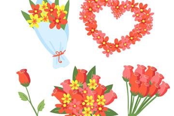 5款彩色花束和花枝矢量素材