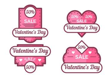 6款粉色手绘情人节折扣标签矢量图