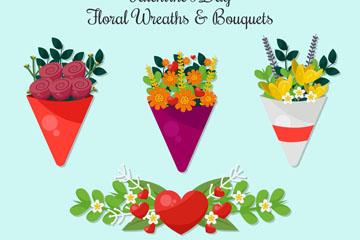 5款彩色情人节花束和花边矢量素材