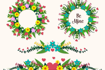 4款创意情人节花环和花边矢量素材
