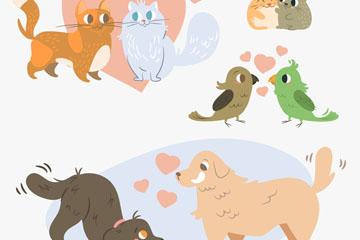 4对创意动物情侣设计矢量素材