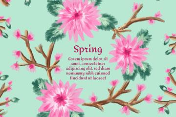 彩绘粉色春季花枝矢量素材