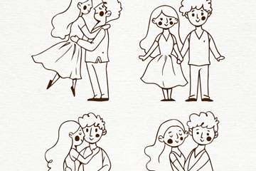 4对手绘情侣设计矢量素材