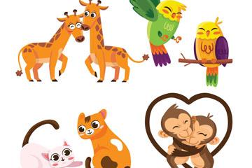 4对卡通动物情侣矢量素材