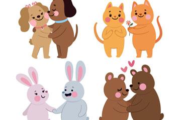 4对可爱卡通动物情侣矢量素材
