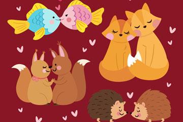 4对彩绘可爱动物情侣矢量素材