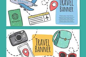 2款手绘旅行元素banner矢量素材