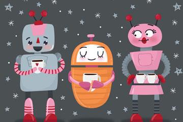 3个可爱手绘机器人矢量素材