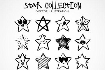 16款手绘星星设计矢量素材