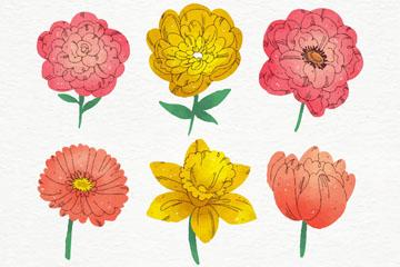 7款彩绘春季花朵矢量素材