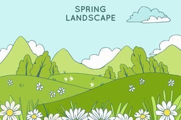 创意春季绿色草地花丛风景矢量图
