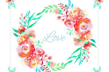 水彩绘玫瑰花环设计矢量素材