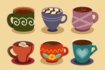 6款彩色花纹咖啡杯矢量素材