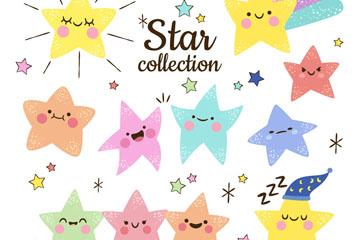 11款彩绘可爱表情星星矢量素材