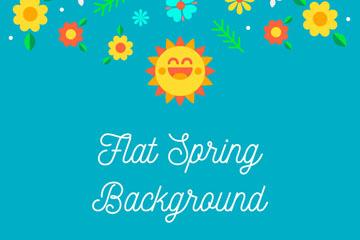 扁平化春季太阳和花卉矢量素材