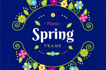 创意春季花环框架矢量素材