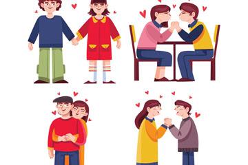 4对卡通情侣设计矢量素材