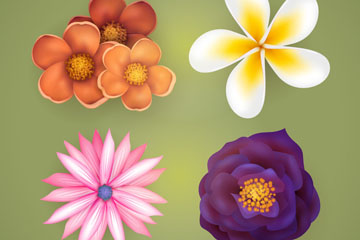 4款逼真春季花卉矢量素材