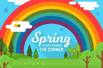 创意春季郊外彩虹风景矢量素材