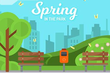创意春季公园风景矢量素材