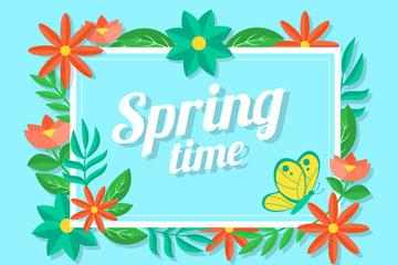 ��意方形春季花卉框架矢量素材
