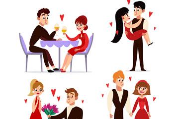 4对创意约会中的情侣矢量素材