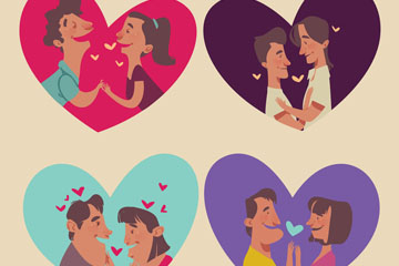4对创意爱心里的情侣矢量素材