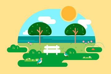 创意春季海边风景矢量素材