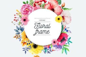彩�L春季�A形花卉框架矢量素材