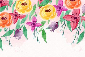 彩�L春季花卉矢量素材