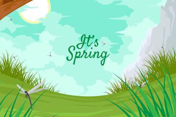 美丽春季郊外风景矢量素材