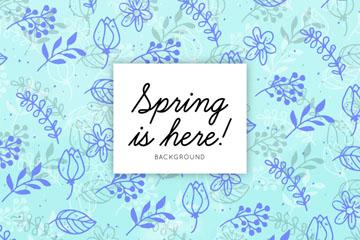 蓝色春季花草无缝背景矢量图
