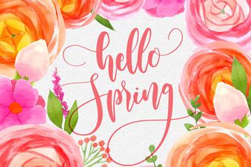 彩�L你好春季花朵矢量素材