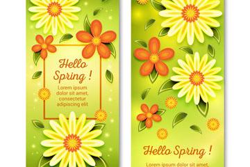 2款��意春季花朵banner矢量素材