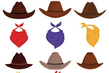 12款彩色西部牛仔帽子和围巾矢量图