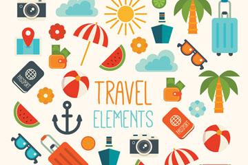 38款彩色旅行元素矢量素材
