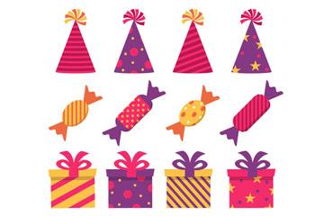 13款彩色生日派对元素矢量图