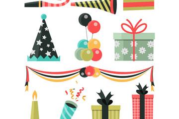 11款素色生日派对元素矢量素材