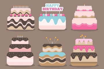 6款创意生日蛋糕设计矢量素材