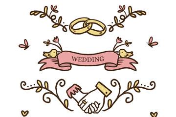 4款彩色婚礼元素花边矢量素材