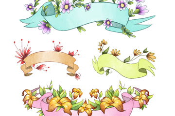 4款彩�L花卉�b�空白�l幅矢量�D