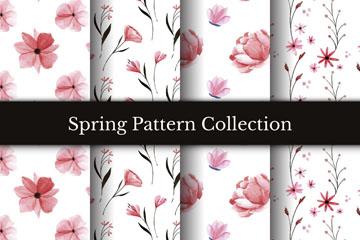 4款清新春季花朵无缝背景矢量图