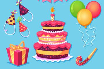 11款彩色生日派对元素矢量素材