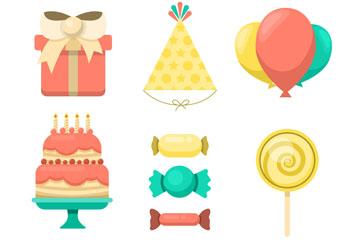 11款创意生日食物和装饰物矢量素材
