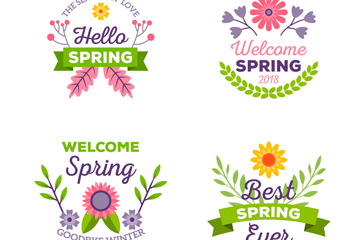 4款清新春季花卉标签矢量素材