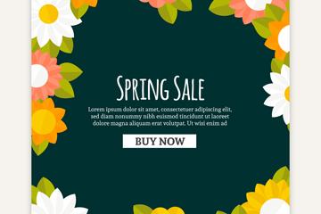 彩色春季花卉销售海报矢量素材